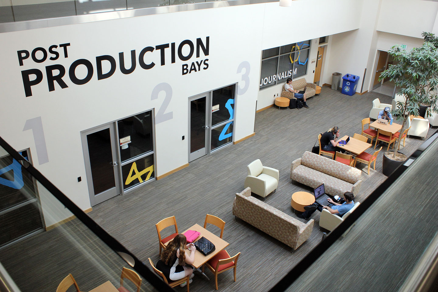 Students study near post production bays