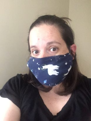 Amie wearing an astro alpaca face mask