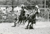 Two club members try calf roping on horseback