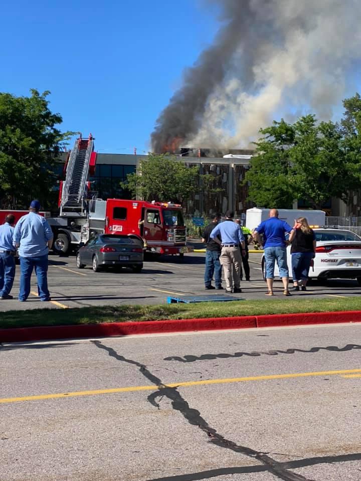 Fire truck on scene of building fire