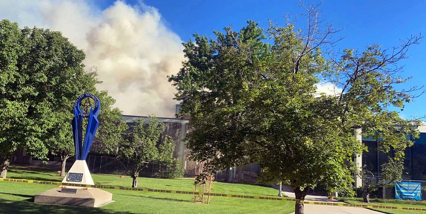 Smoke rises from Applied Technology Building