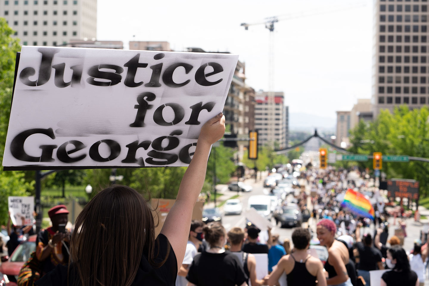 "Sign reads ""Justice for George"""