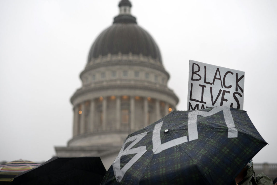Black Lives Matter messages outside Utah State Capitol