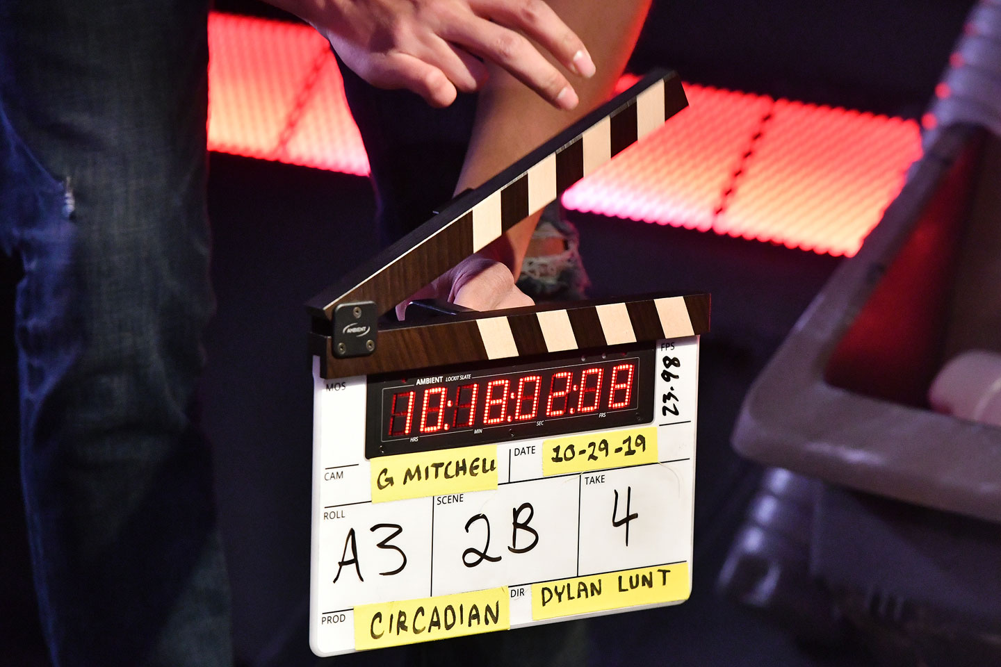 "Clapperboard on ""Circadian"" film set"