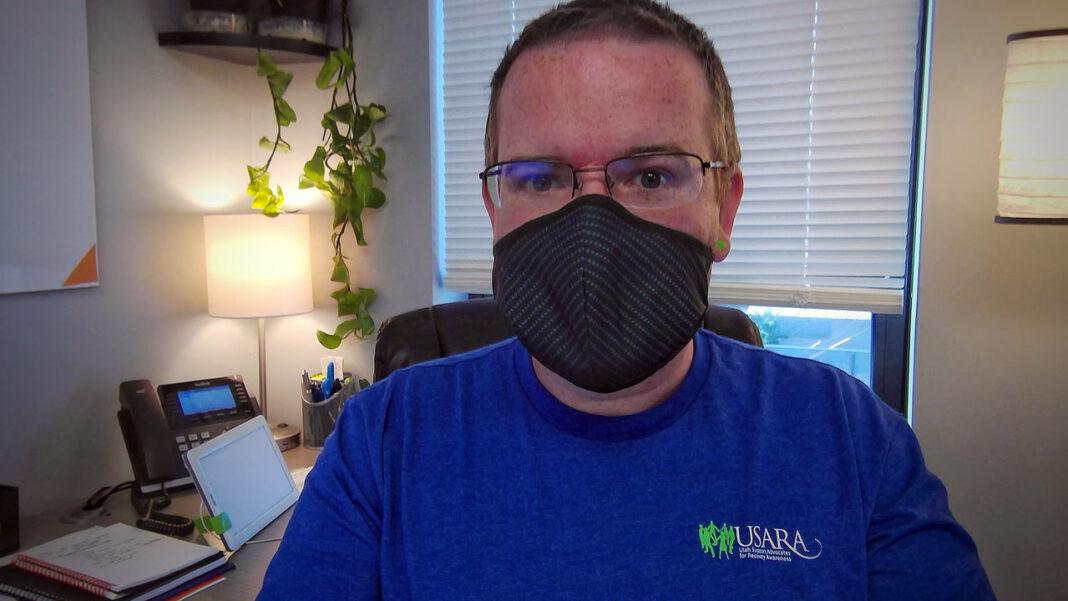Evan Done shares a mask selfie