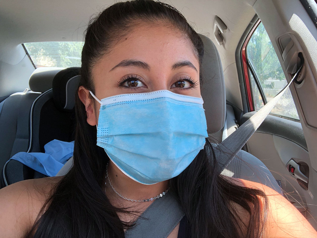 Guadalupe Gomez shares a mask selfie