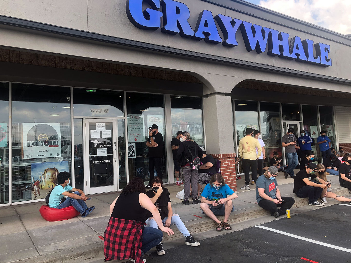 Record Store Day fans wait outside Graywhale