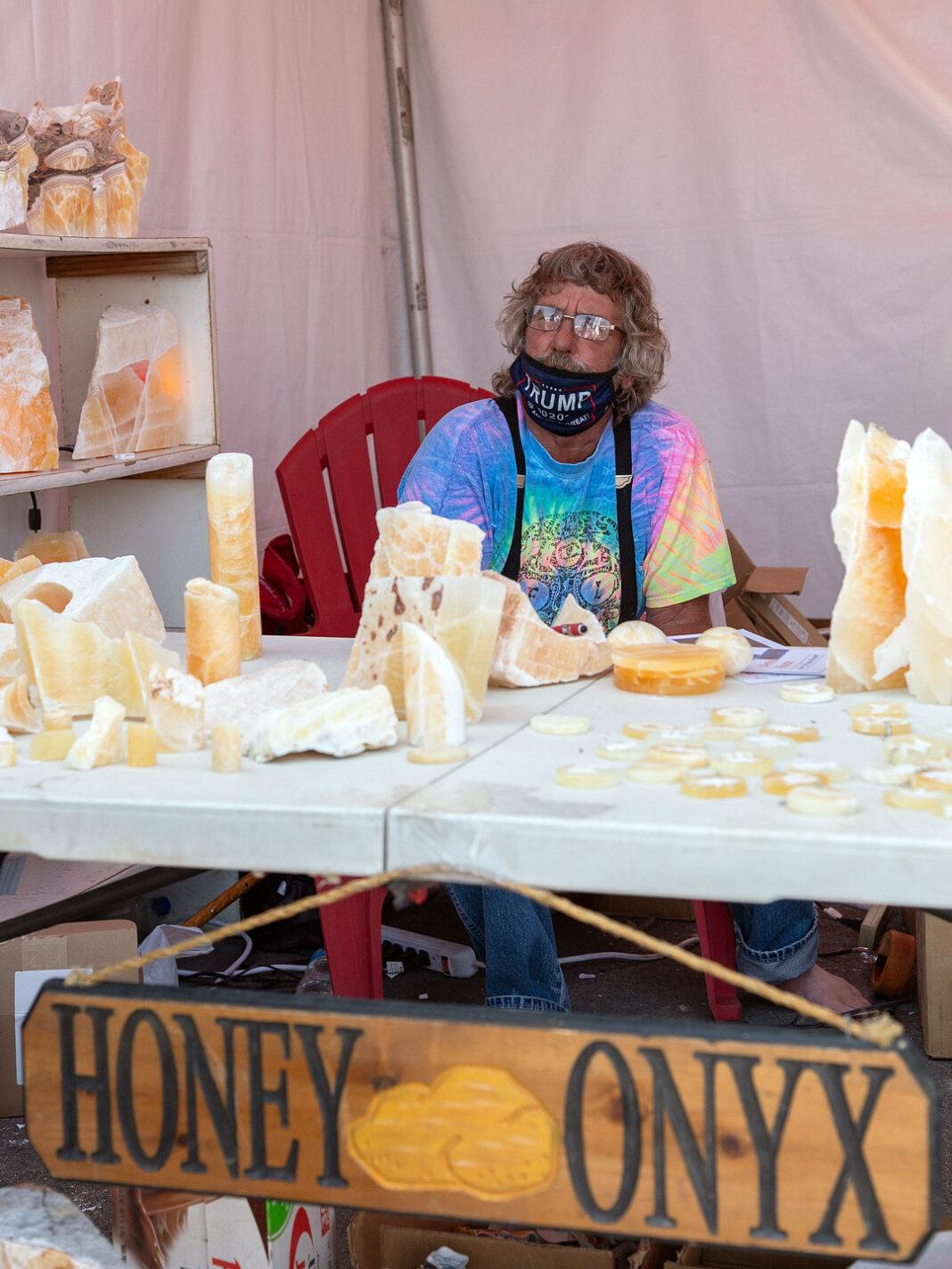Jim Maxwell at his Honey Onyx vendor booth
