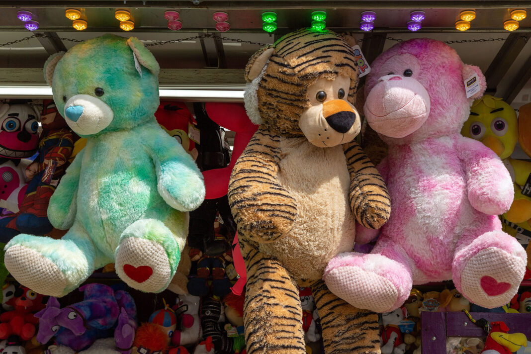 Three large stuffed animals