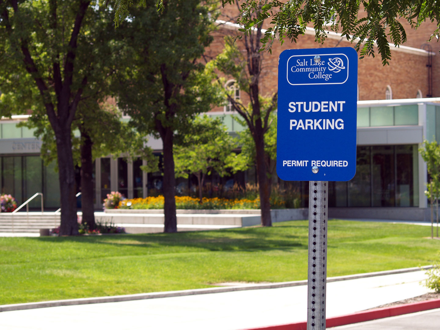 Blue student parking sign on South City Campus