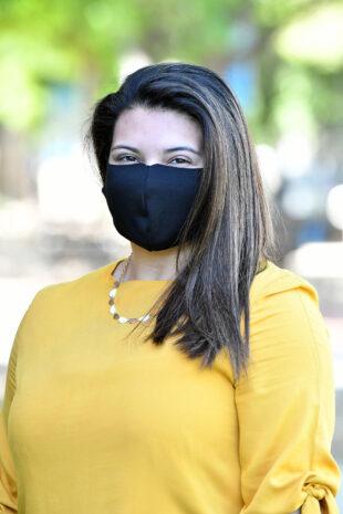 Emily Hernandez Alzamora wears a mask