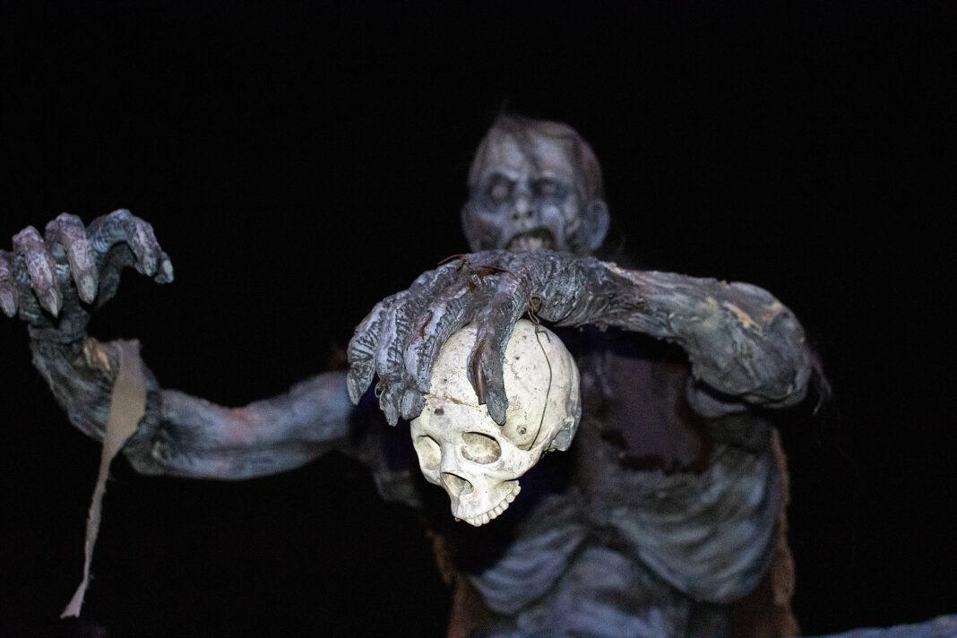Zombie holds skull