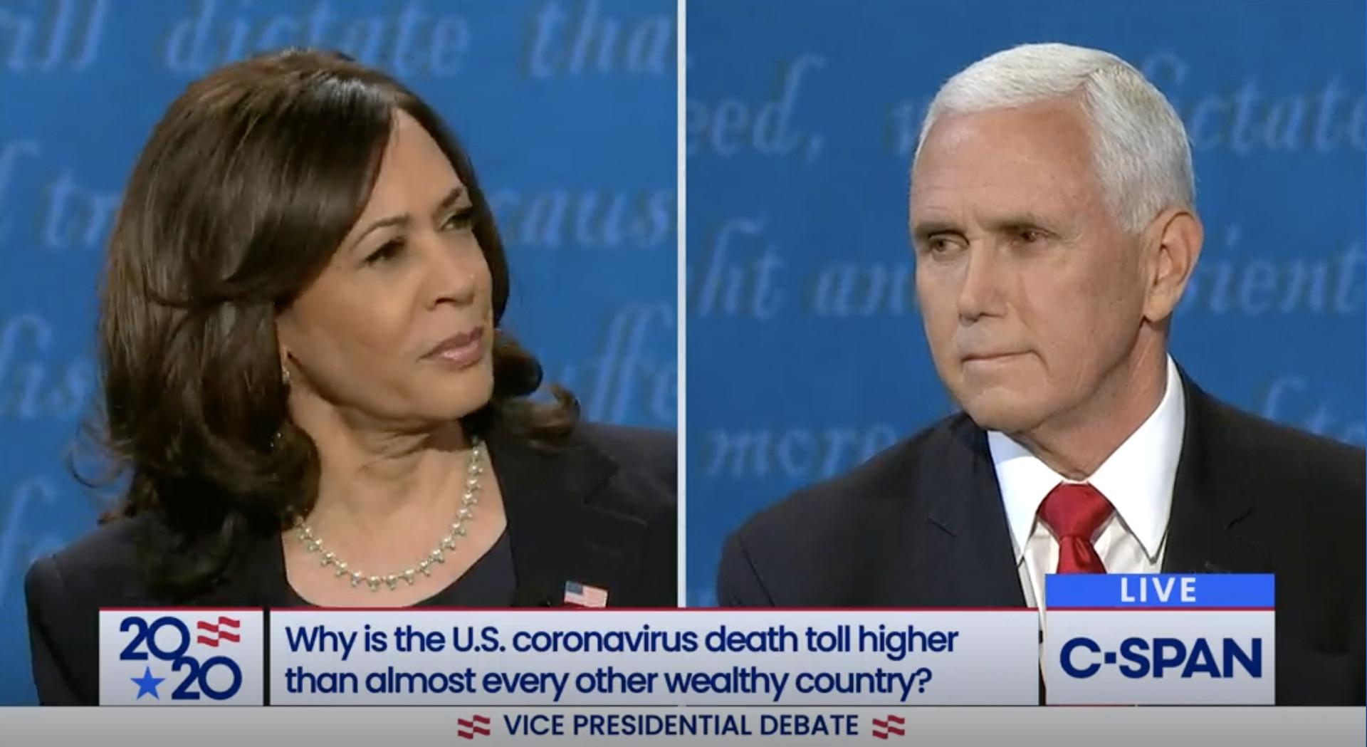 Screenshot of debate between Kamala Harris and Mike Pence