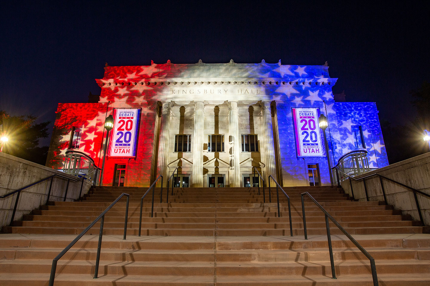 Kingsbury Hall lit red, white and blue