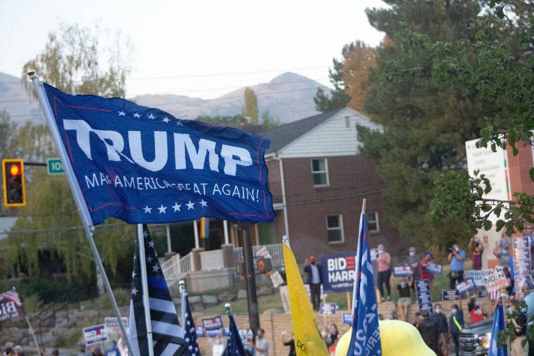 Blue Trump flag waves