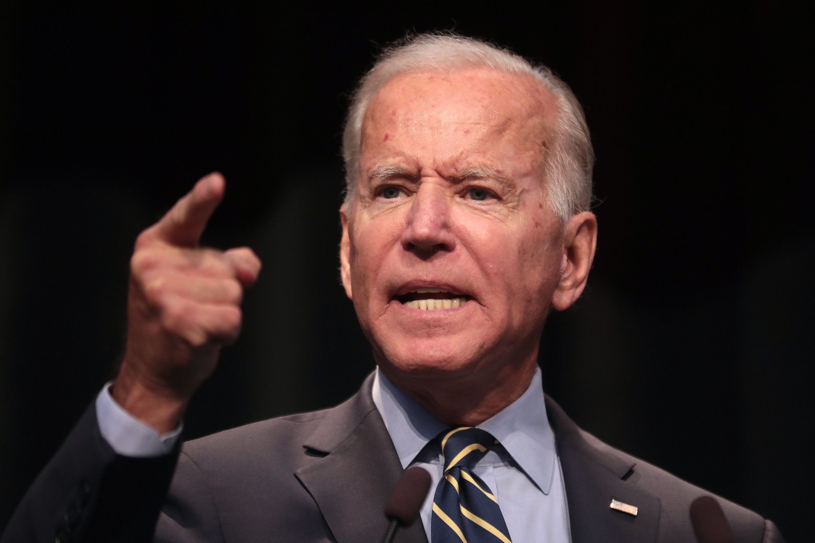 Biden gestures while speaking