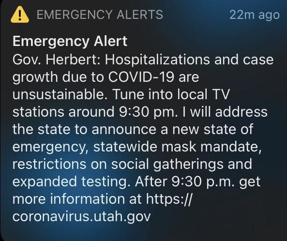Emergency alert notification regarding COVID-19
