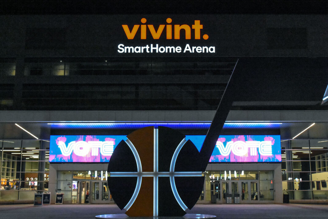Jazz note in front of vote signage at Vivint