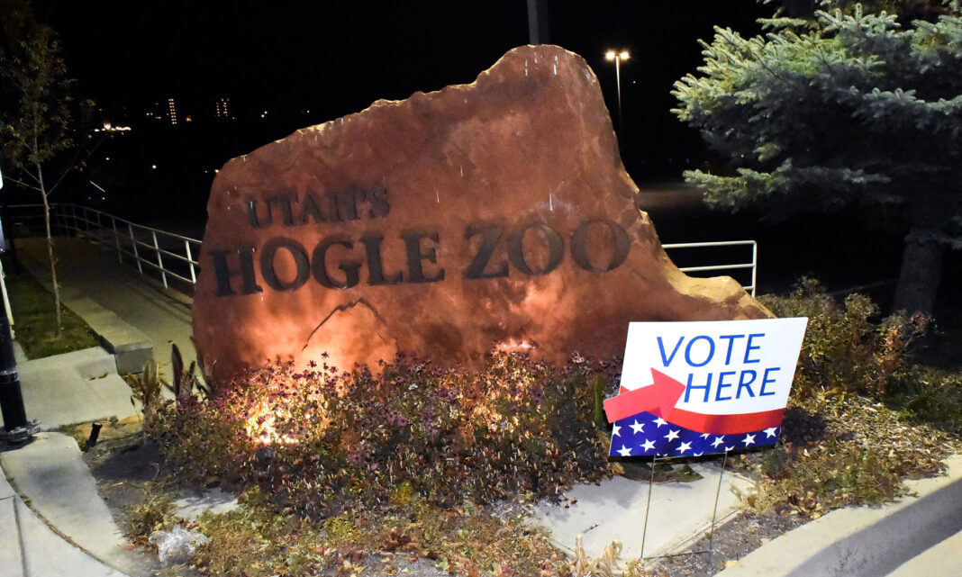 Vote Here sign by Hogle Zoo entrance