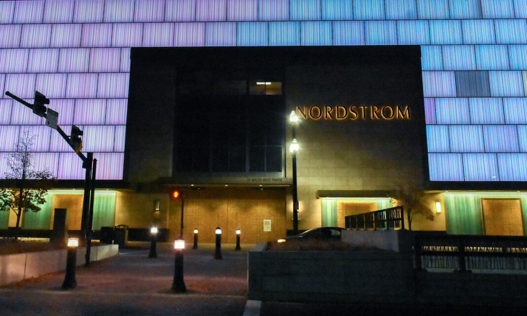 Nordstrom windows and doors covered in plywood