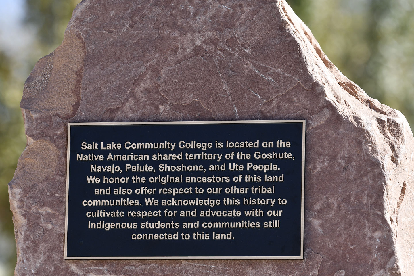 Plaque in The Realm (east of Student Center) on the Taylorsville Redwood Campus