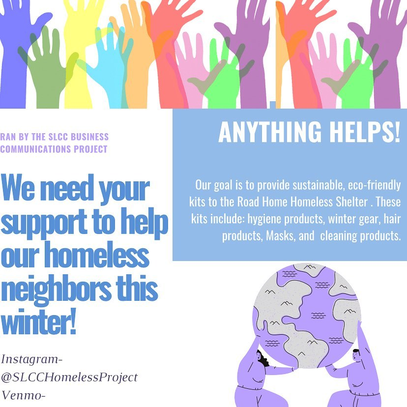 "Flier reads ""Anything helps! We need your support to help our homeless neighbors this winter!"""