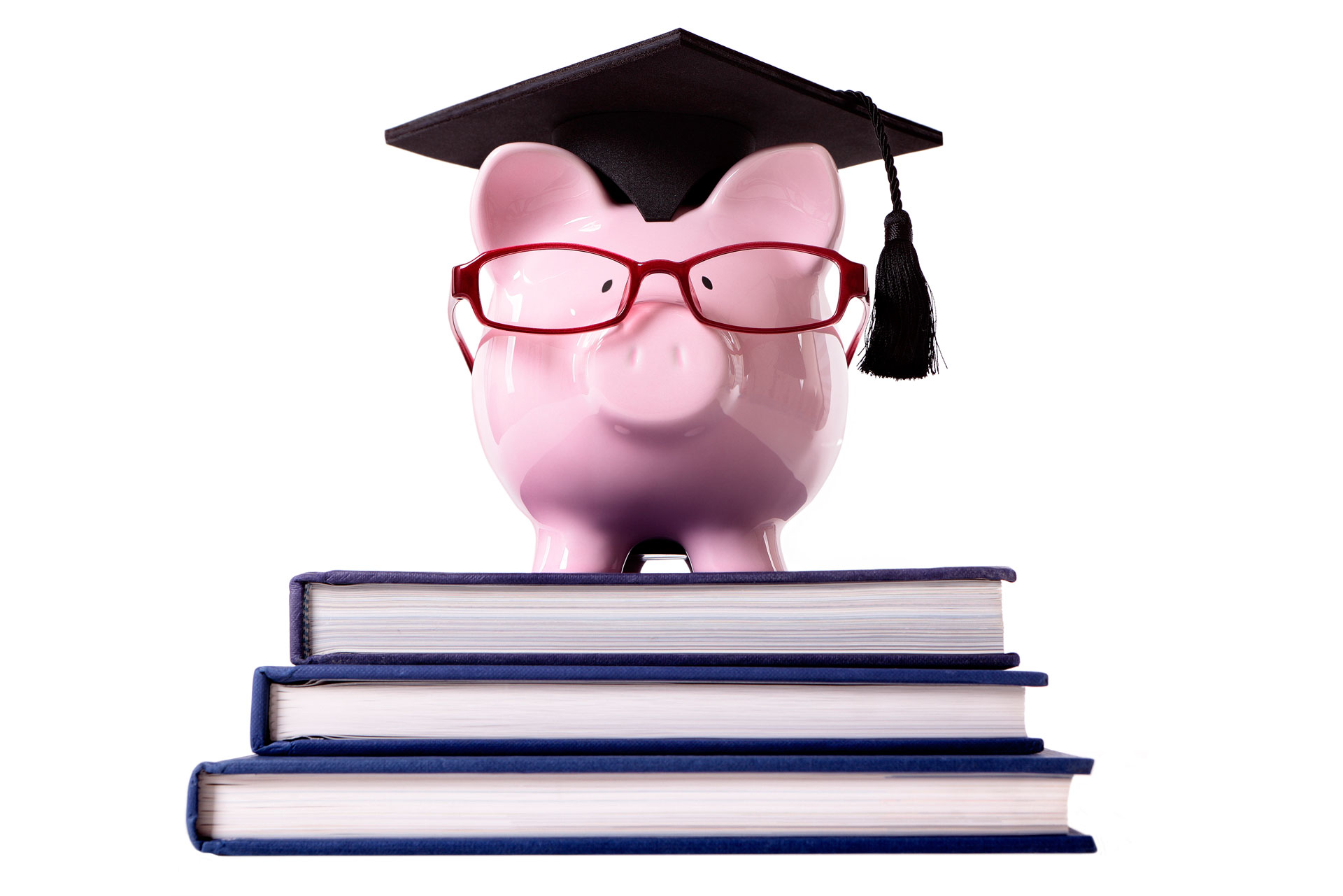Piggy bank stands on top of three books