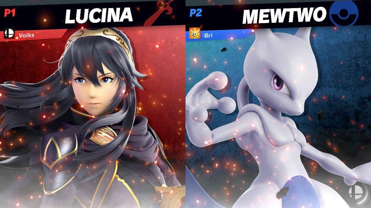 """Super Smash Bros. Ultimate"" fight screen between Lucina and MewTwo"
