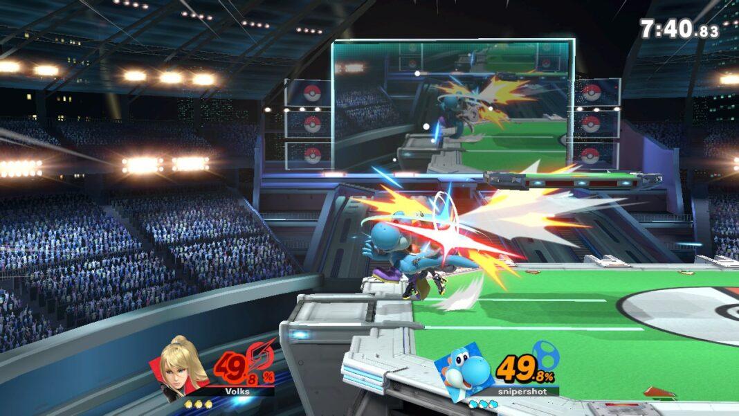 "Zero Suit Samus vs. Yoshi in ""Super Smash Bros. Ultimate"""