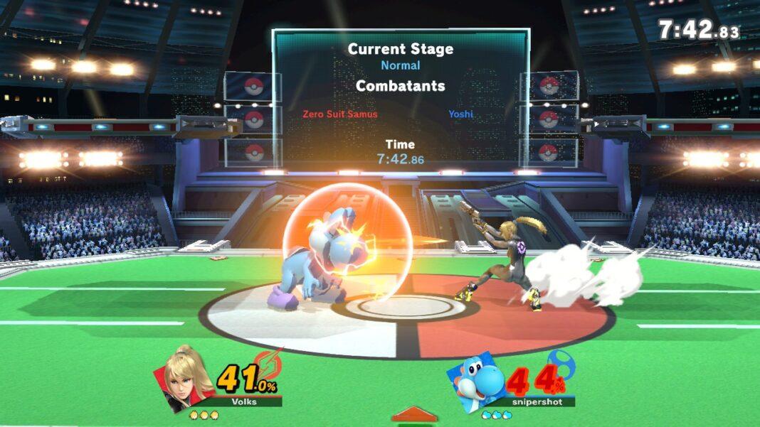 """Zero Suit Samus fights Yoshi in """"Super Smash Bros. Ultimate"""""""