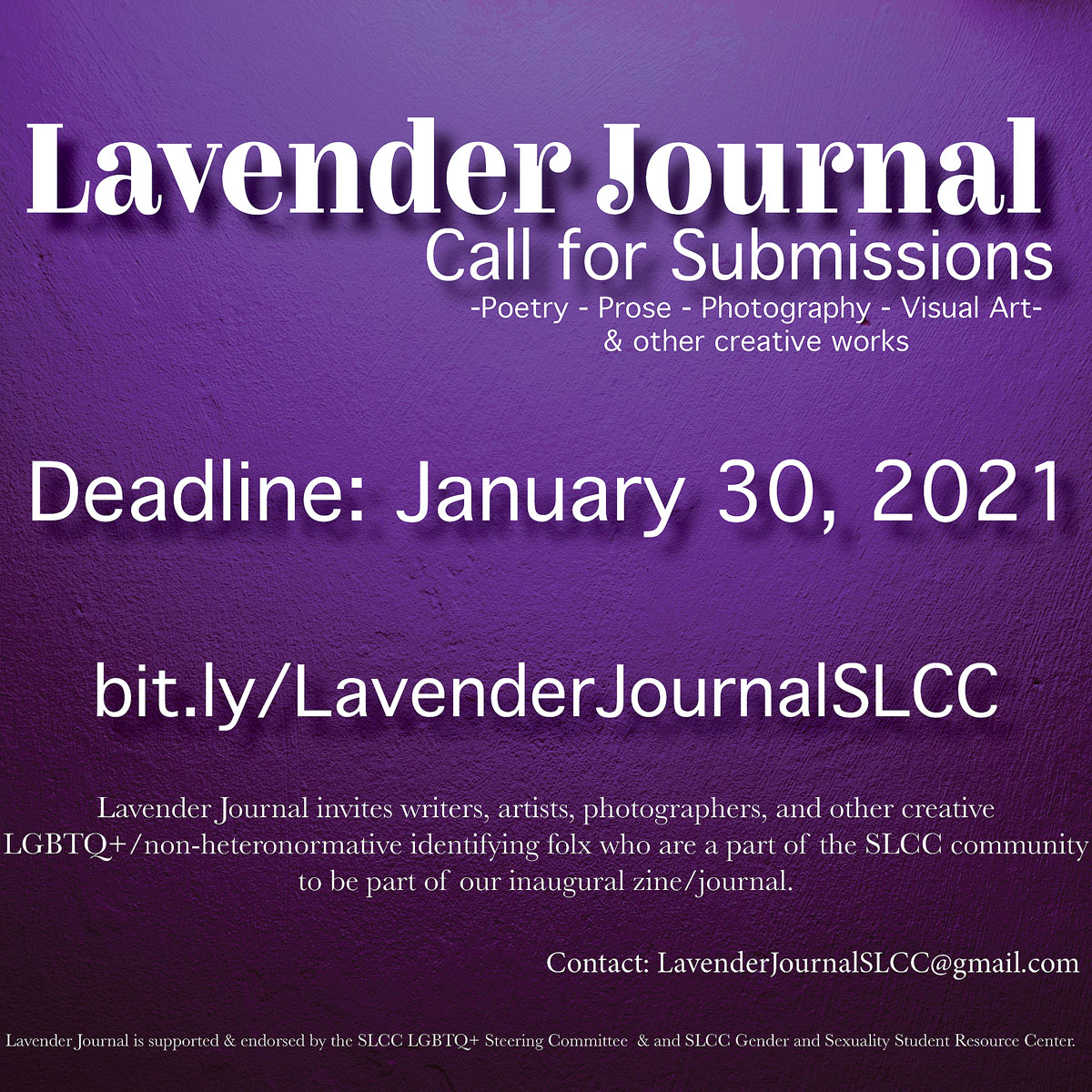 Lavender Journal call for submissions, deadline: January 30, 2021
