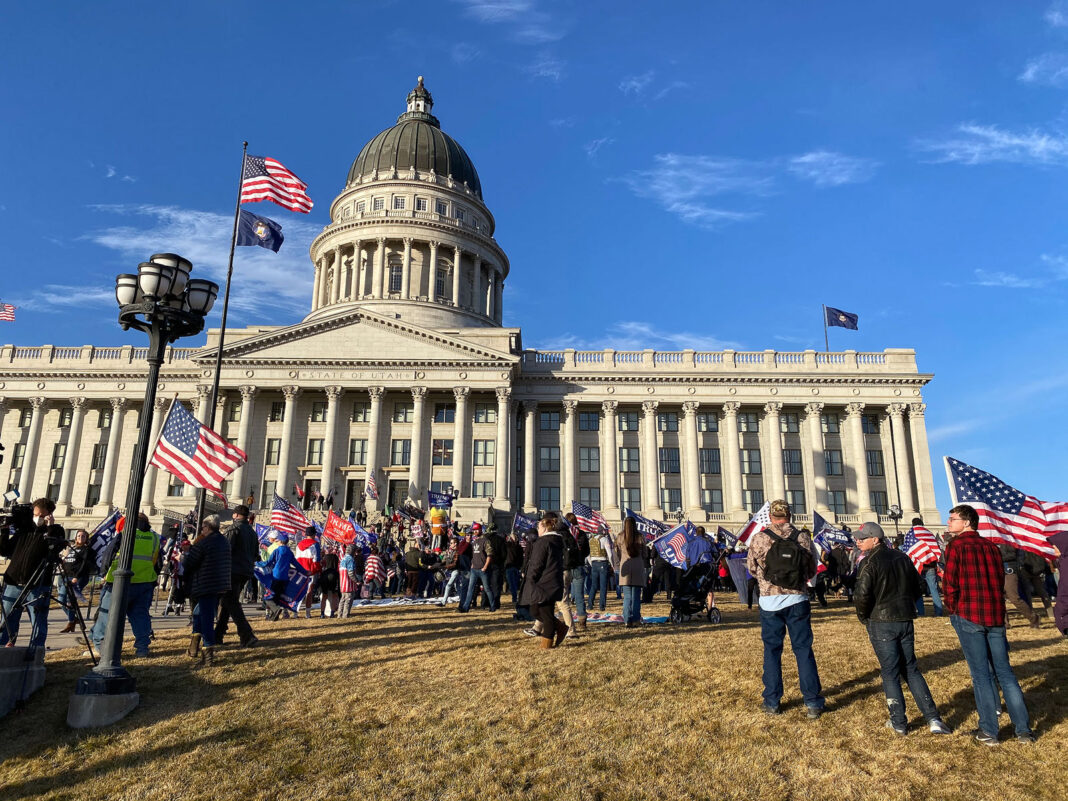 Trump supporters outside the Utah Capitol