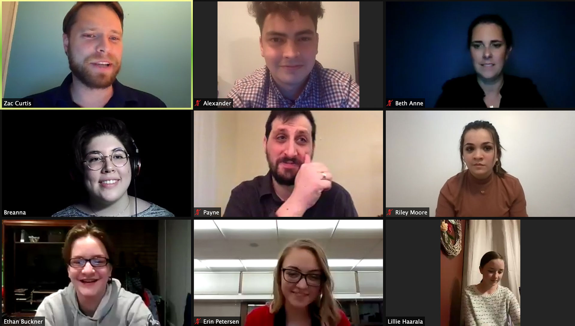 Virtual meeting between playwrights and cast members