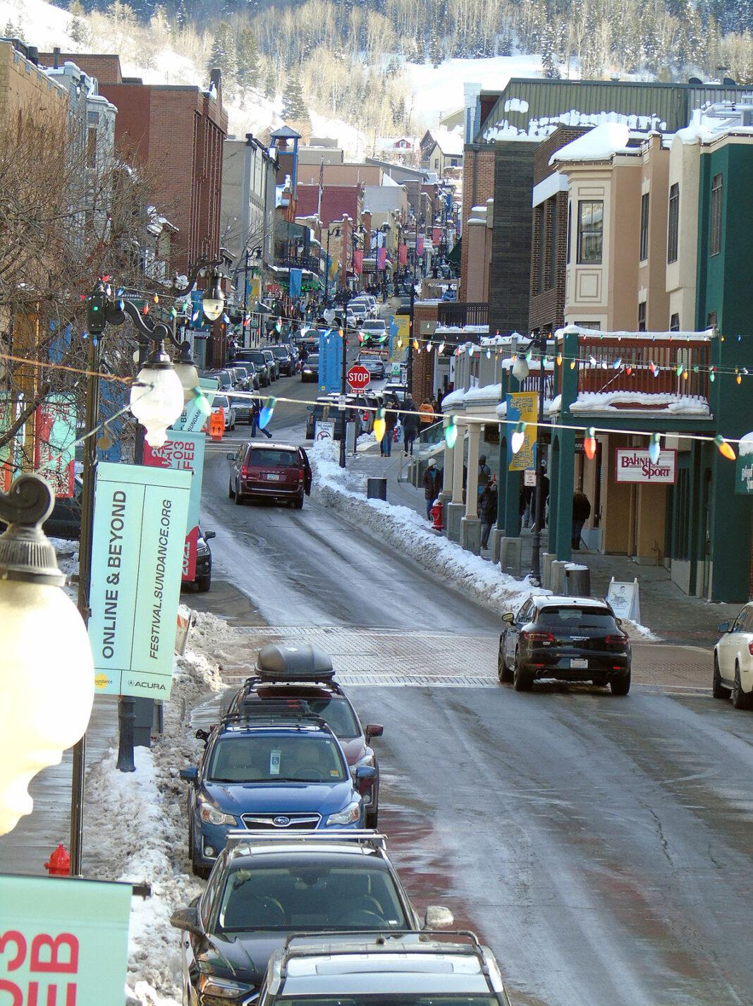 Vertical shot of Park City's Main Street