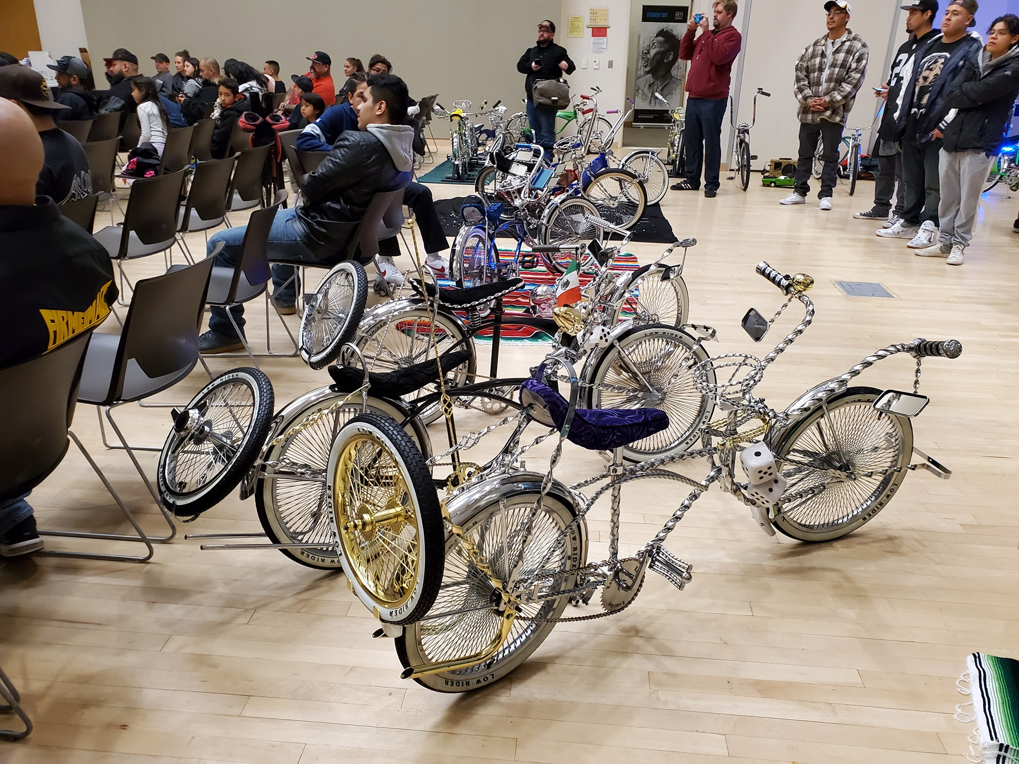 Row of bicycles on display in auditorium