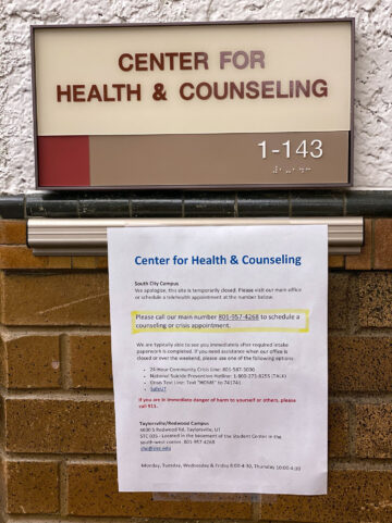 Sign indicating temporary closure of the CHC at South City Campus