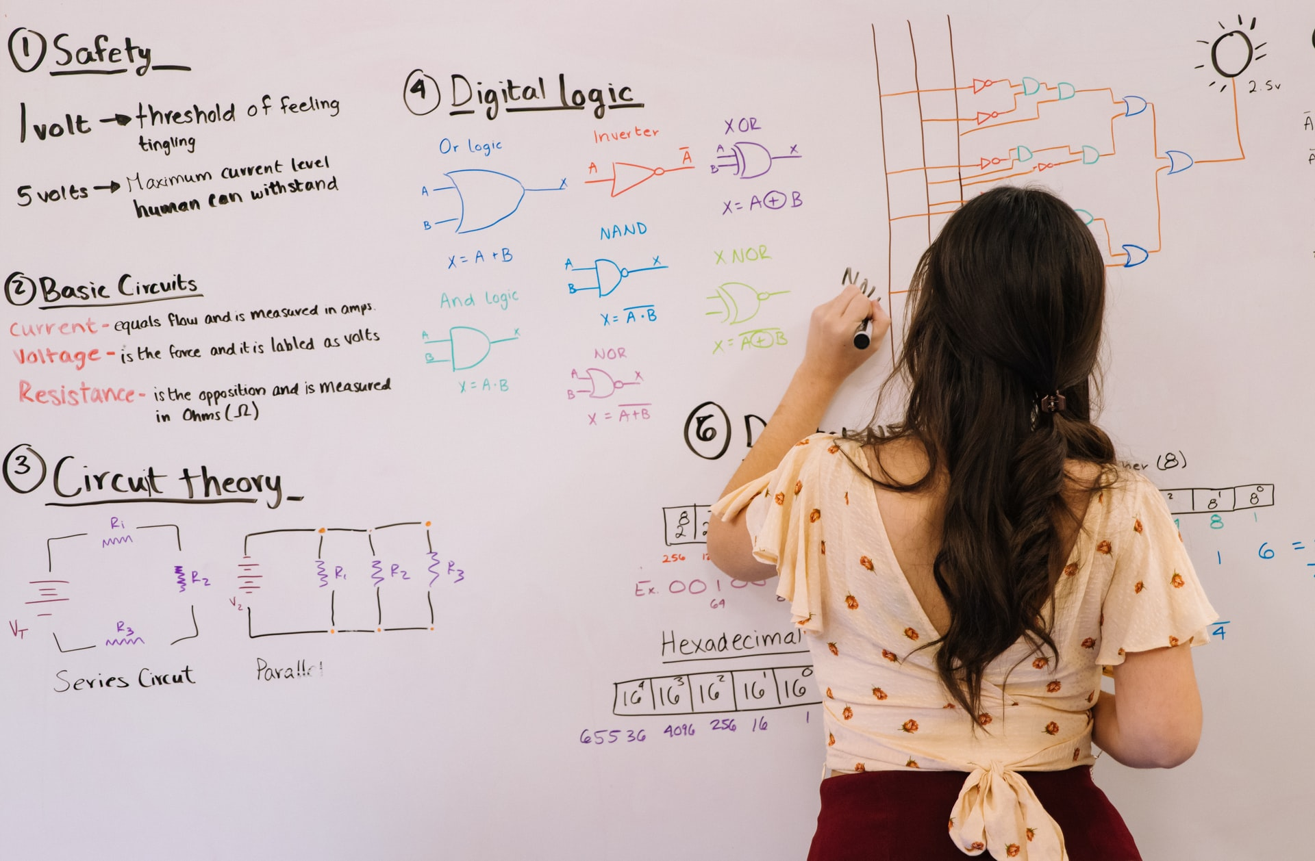 Woman teaches circuit theory on a whiteboard