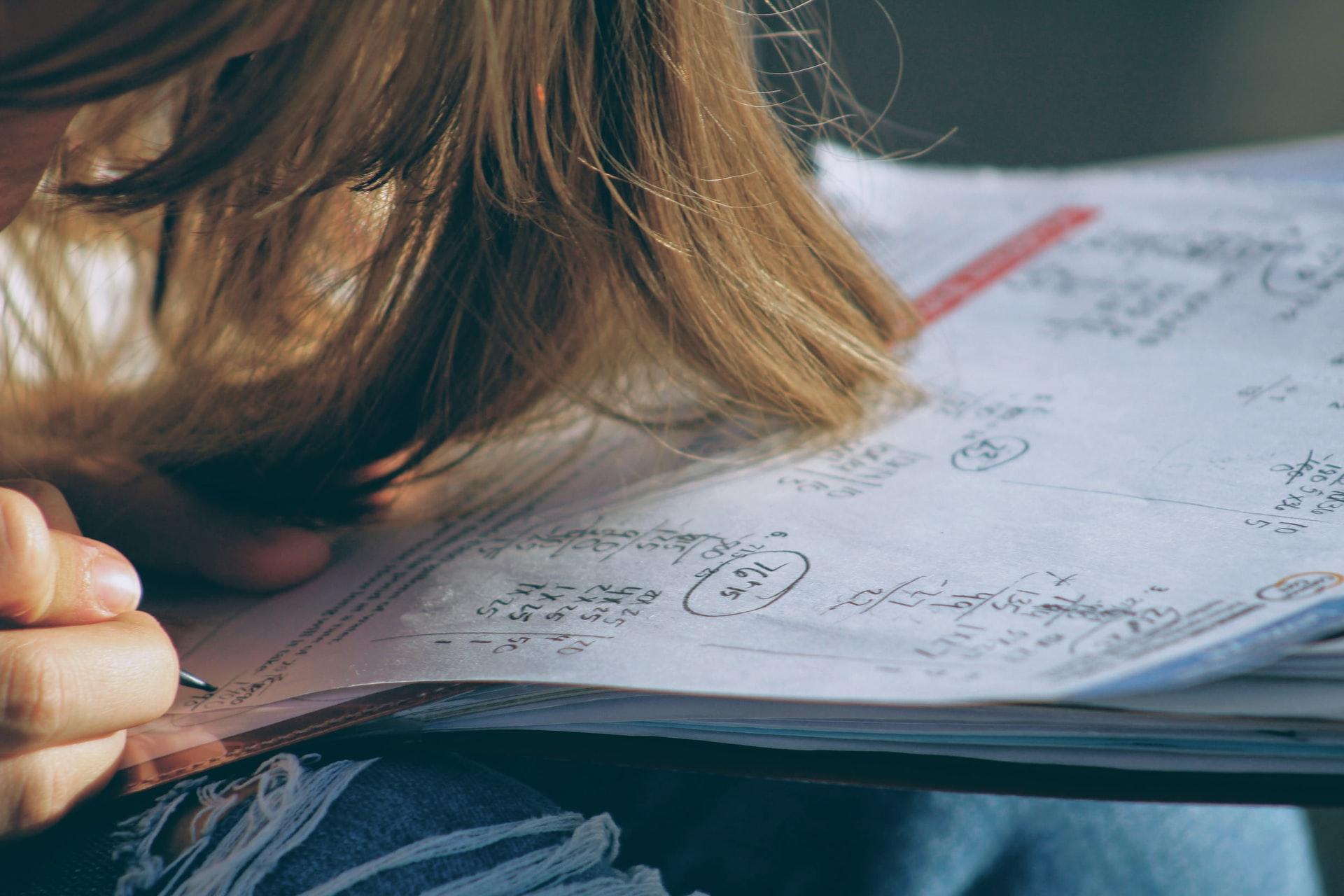 Woman studies math