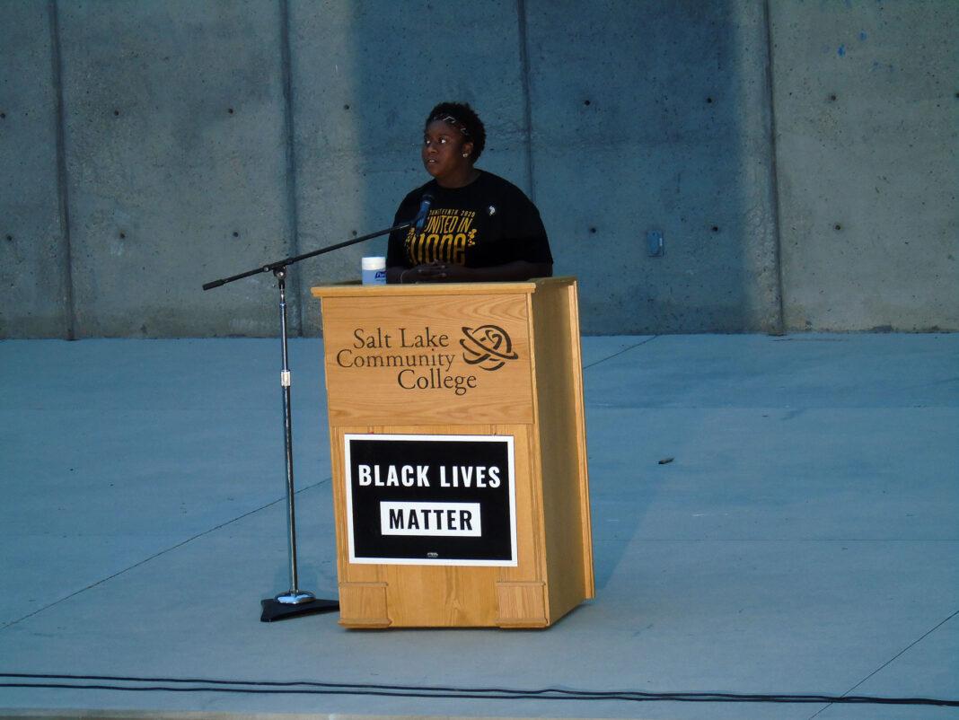 Terri Hughes at podium