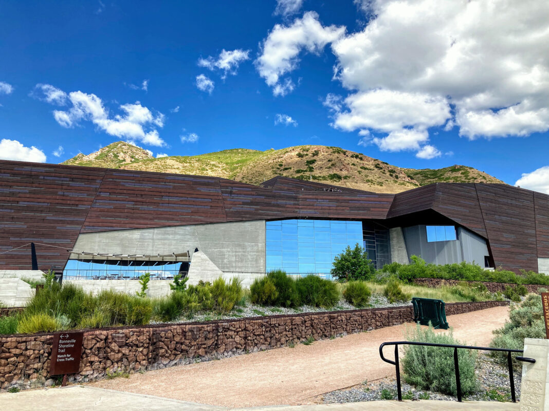 The Natural History Museum of Utah on a partly cloudy day