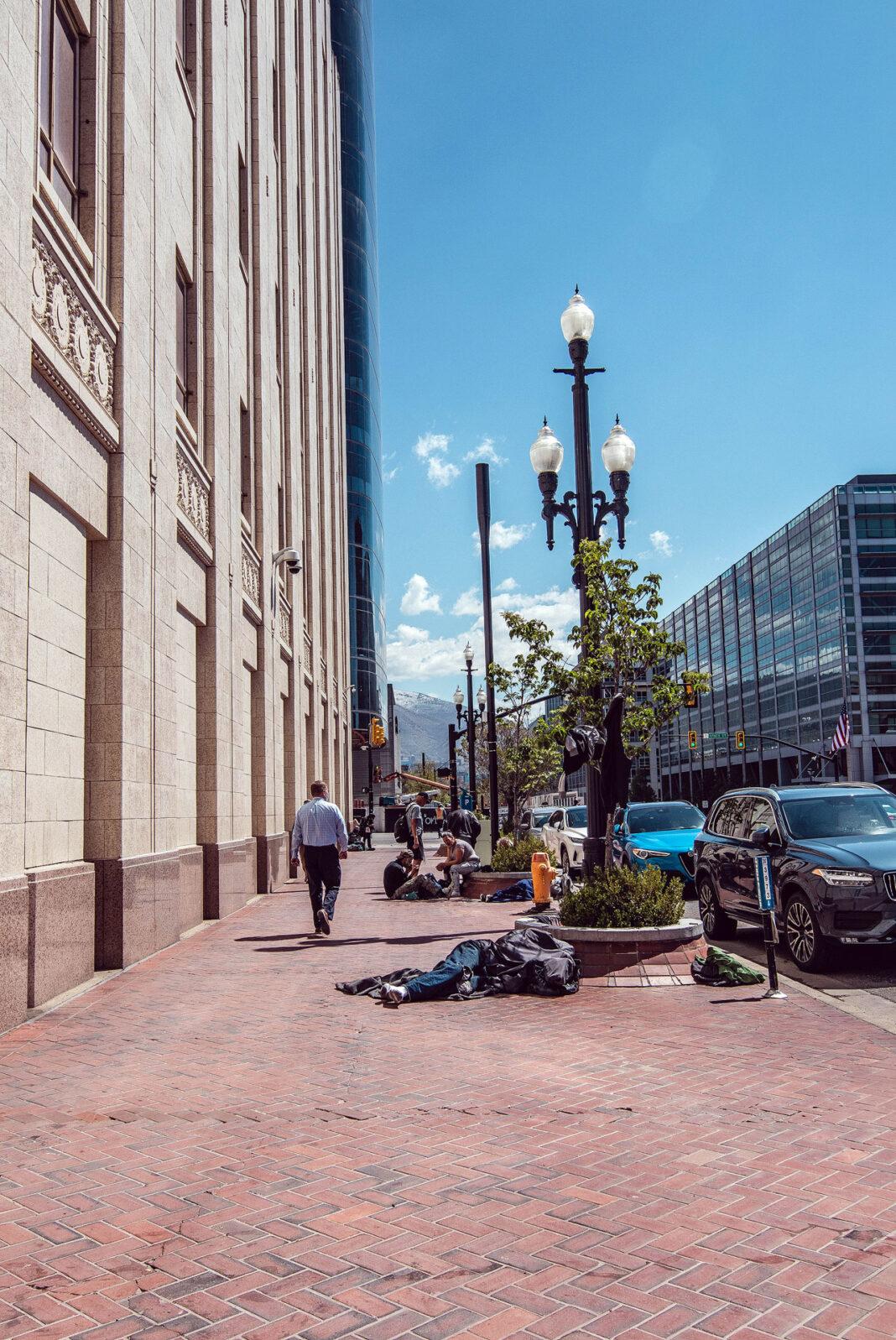 Homeless people near Main Street
