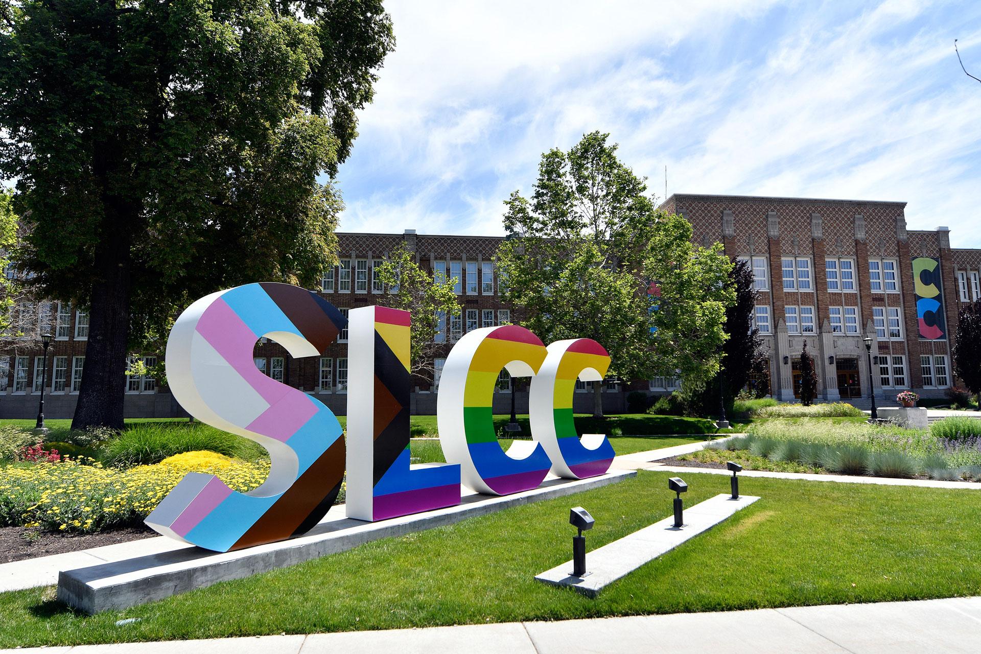SLCC letters in progress pride flag design