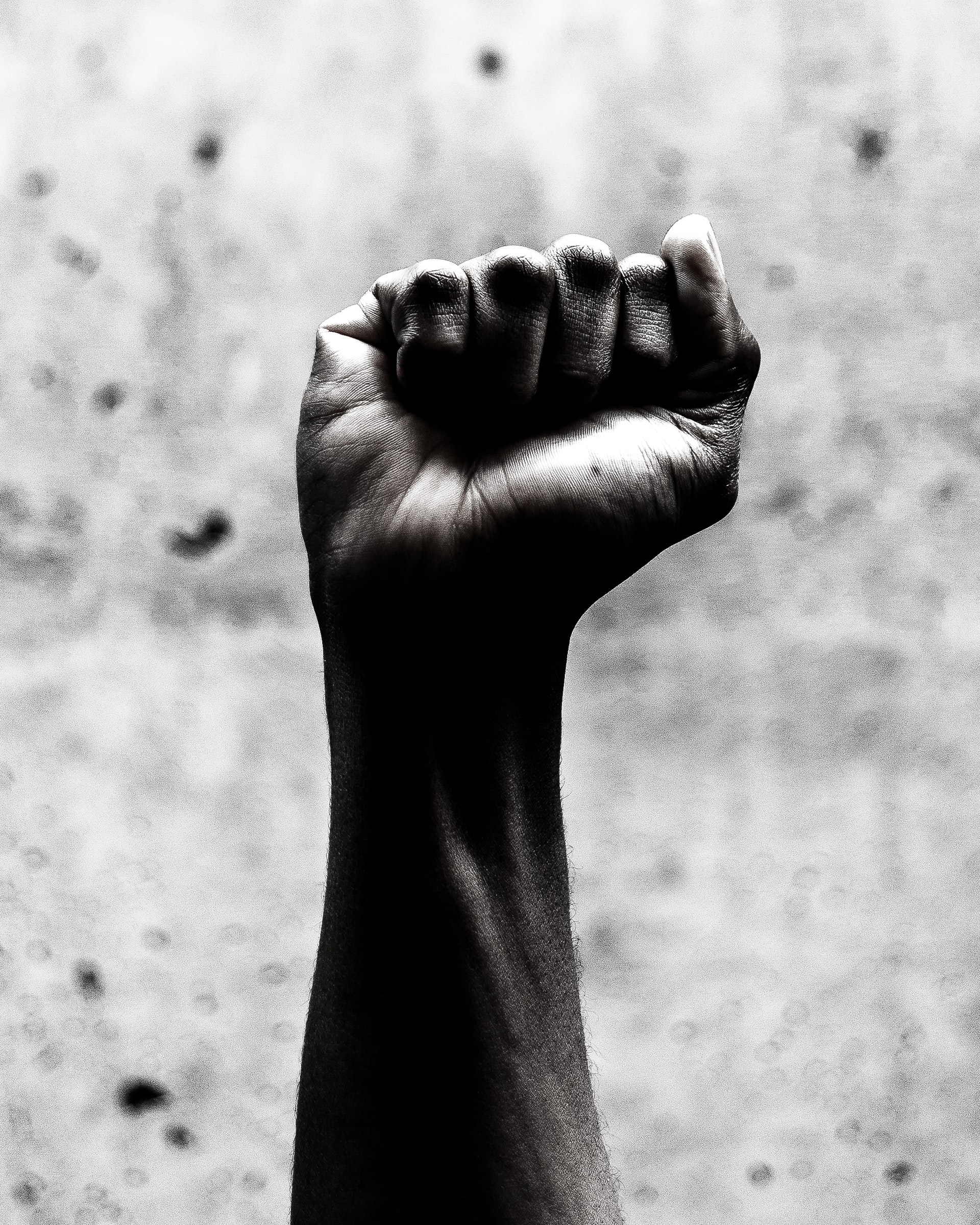 Grayscale image of Black fist