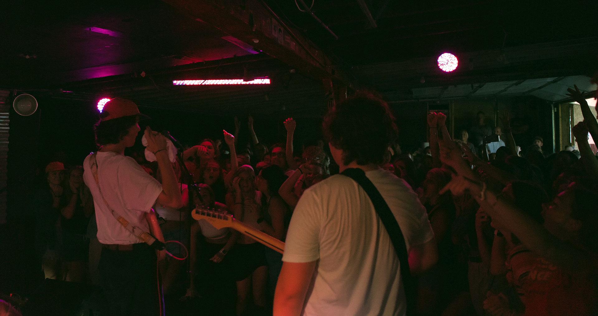 Crowd cheers band members