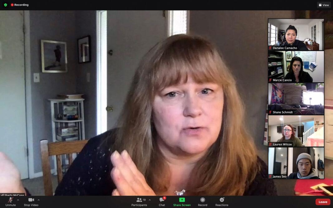 Sheila McCann speaking via Zoom