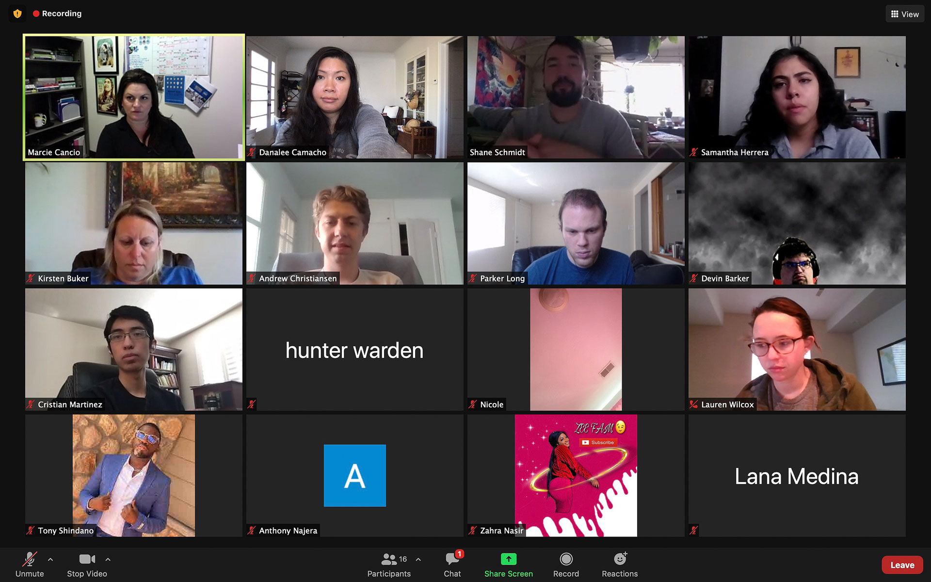 Multiple people participate in a Zoom call