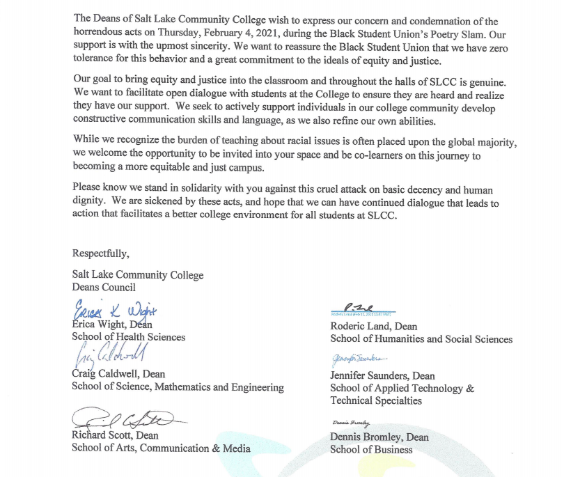 Salt Lake Community College Deans Council writes letter of support to Black students