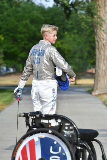 Shelby Jensen wears a Team USA jacket