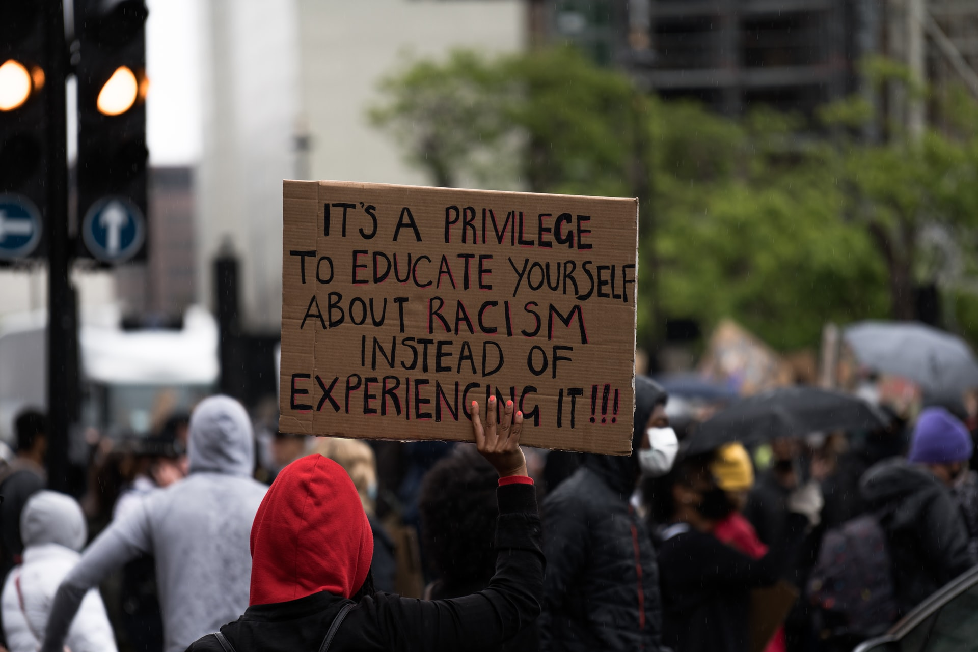 """Protester holds sign that reads """"It's a privilege to educate yourself about racism instead of experiencing it!!!"""""""