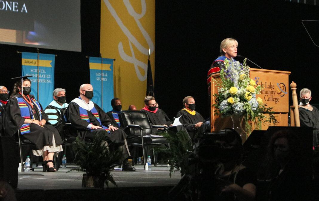 SLCC administrators listen to President Huftalin speak